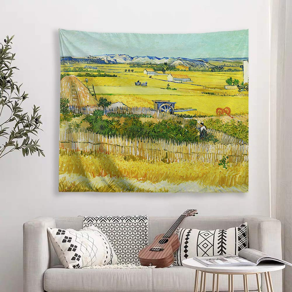 Baccessor Vincent Van Gogh Tapestry Wall Hanging The Harvest Oil Painting Abstract Art Rustic Home Decor for Living Room Bedroom College Dorm Apartment, 60 W x 51 L Inches, The Harvest