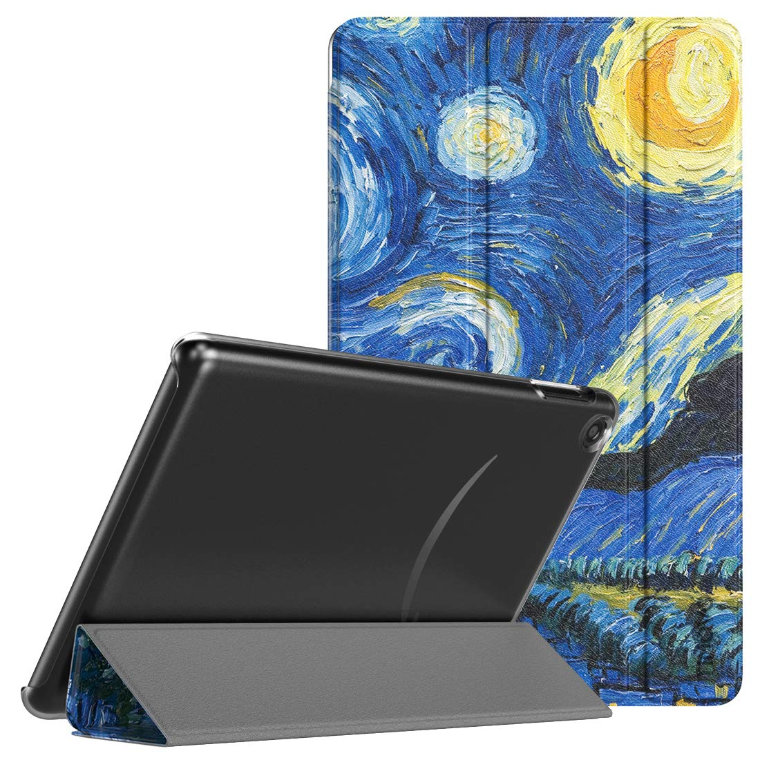 TiMOVO Case Fits All-New Fire 7 Tablet (9th Generation, 2019 Release), Lightweight Slim Tri-fold Stand Cover Translucent Case with Auto Wake/Sleep Fit Amazon Fire 7 - Starry Night