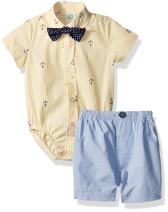 Little Me Baby Boys' Woven Bodysuit and Short Set