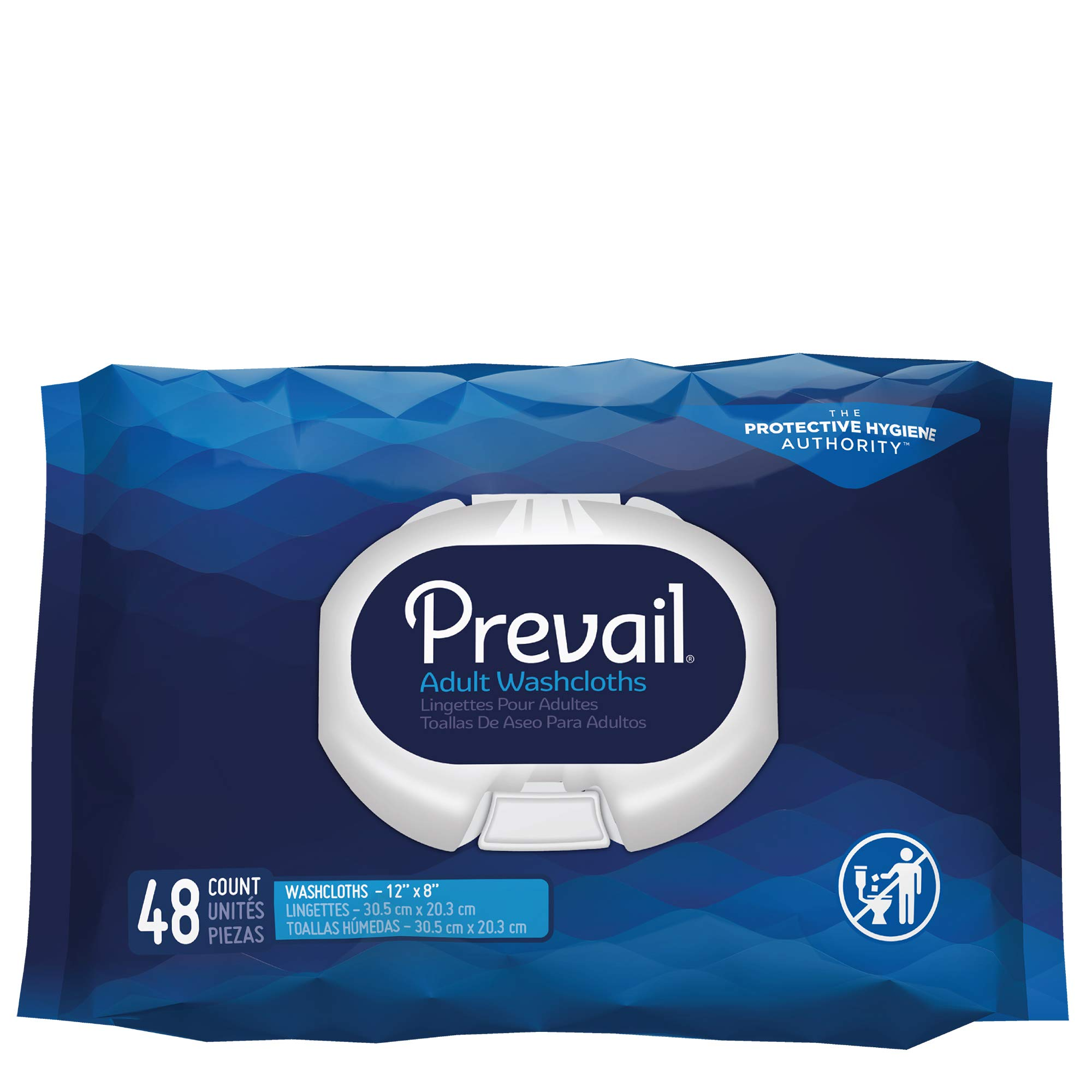 Prevail Incontinence Washcloths, Softpack, 48 Count (Pack of 12 (576 Count))
