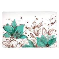 "LIVILAN Tulip Soft Memory Foam Bath Mat Non Slip Bathroom Decor Floral Rug Thick Shaggy Bathroom Floor Carpet Absorbent, Super Cozy Machine Wash and Dry, 16"" X 23"""