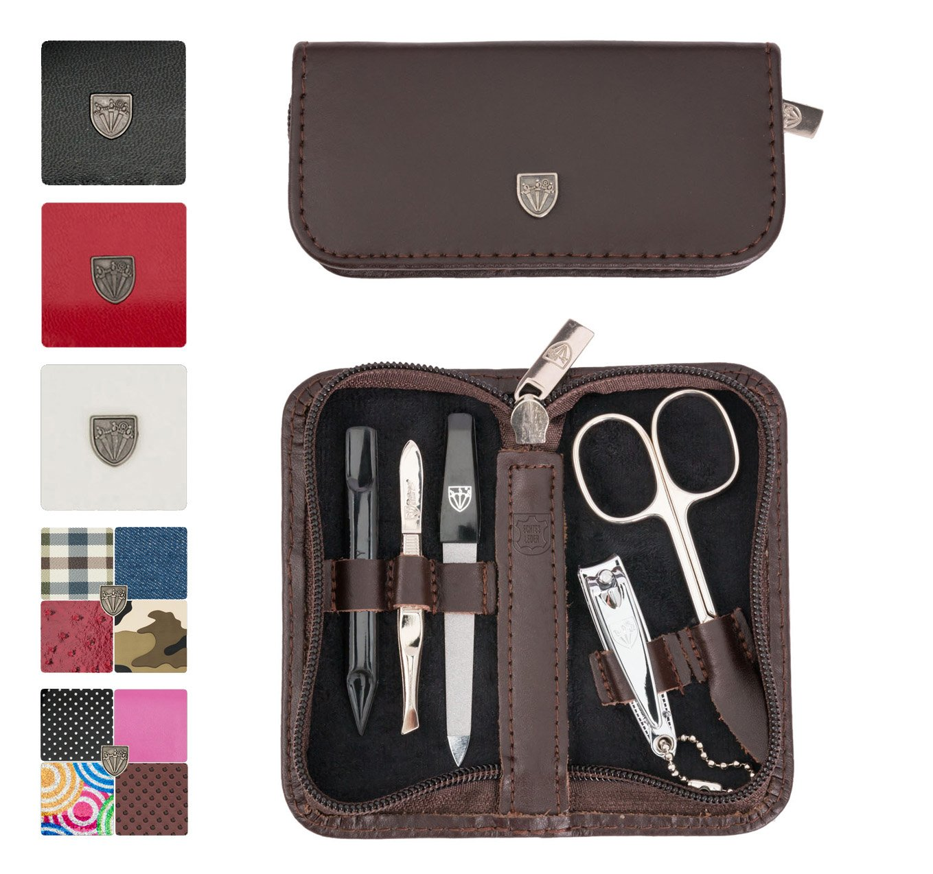 3 Swords Germany - brand quality 5 piece manicure pedicure grooming kit set for professional finger & toe nail care scissors clipper genuine leather case in gift box, Made in Solingen Germany (03638)