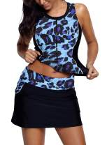Lovezesent Womens Two Piece Print Zip Tankini Swimsuit with Skirt Bathing Suits