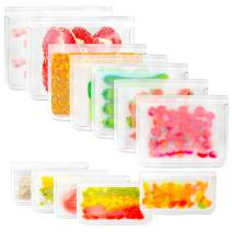 Reusable Food Storage Bags BPA Free 12 Pack, (5 Reusable Sandwich Bags, 5 Reusable Snack Bags, 2 Leakproof Freezer Bags), Extra Thick Food Grade Lunch Bags for Meat Fruit Vegetable