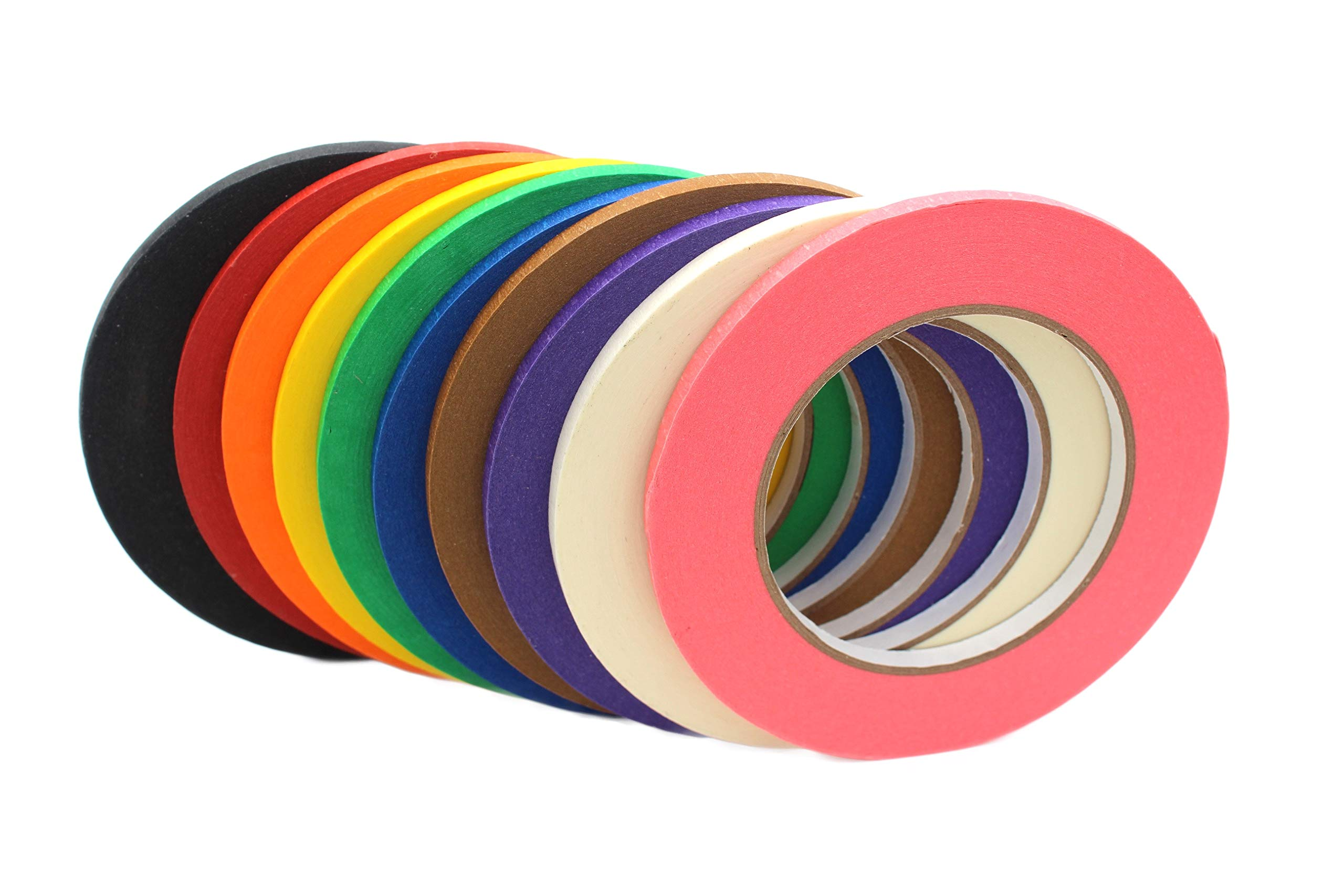 Narrow Colored Masking Tape by BAM! Tape   Arts and Crafts Tape   STEM Preschool   10 Colors 600 Yards by 1/4 Inch   Kids Art Supplies and Crafting Kit