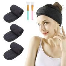 Spa Facial Headband - 3pcs Makeup Headband Stretch Head Wrap Terry Cloth Headband with 2 Facial Mask Brush Adjustable Towel for Washing face Bath and Sport