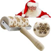 Christmas Wooden Rolling Pins Engraved Embossing Rolling Pin with Christmas Deer snowflake Pattern Christmas Theme Baking Embossed Cookies Noodle Biscuit Fondant Cake Carved Decorative Kitchen Tool