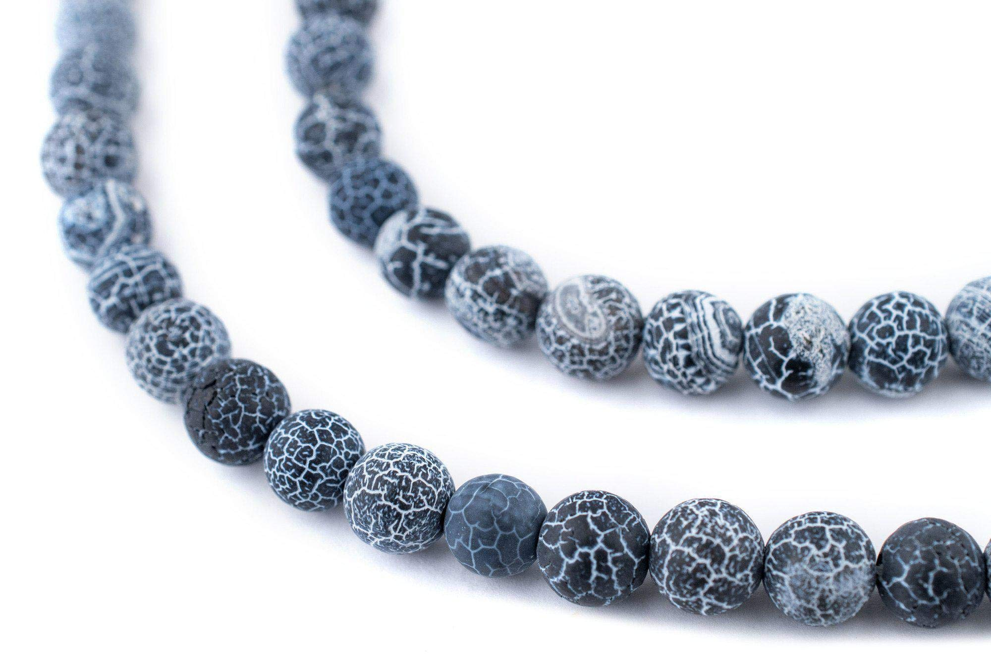 TheBeadChest Matte Round Black Crackled Agate Beads (8mm): Organic Gemstone Round Spherical Energy Stone Healing Power for Jewelry Bracelet Mala Necklace Making