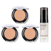 3 Pack Full Coverage Concealer Cream Makeup & 1PC Pore Minimizer Face Foundation Primer, Waterproof Matte Smooth Concealer Corrector for Dark Spot Under Eye Circles, 18g/0.6Oz (#40 Natural)