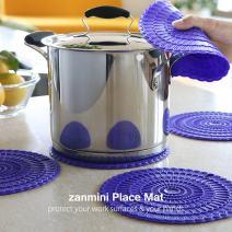 Zanmini 4pcs Trivet Mats/Hot Pads,Insulation, Durable, Flexible Hot Pads,Pot Holders, Spoon Rest, Jar Opener (Purple)