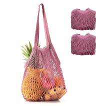Coofig 2 PCS Eco-Friendly Cotton Net Shopping Bag Reusable Mesh Tote Handbag with Long Handles Portable String Bag Organizer for Shopping/Outdoor Packing/Beach Toys/Fruit/Vegetable(Purple L)