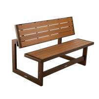 LIFETIME 60139 Outdoor Convertible Bench, 55 Inch, Mocha Brown