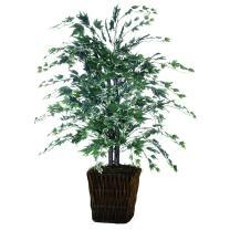 Vickerman 4' Artificial Silver Maple Bush set in Square Rattan Basket
