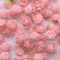 YONGSNOW Mini PE Foam Rose Flower Head 200pcs 2cm Artificial Rose Heads for DIY Scrapbooking Wreath Wedding Party Home Decoration (Peach)