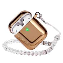 EYEKOP AirPods Case, Premium Soft TPU Plated AirPod Case with Keychain and Crystal Lanyard, Compatible for AirPods 2 & 1 (Gold)