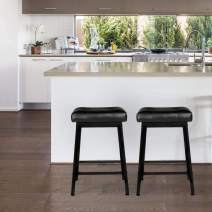 """AECOJOY Counter Height Bar Stools Set of 2, 24"""" Backless Barstools Stool Chair with Faux Leather Cushion for Kitchen Counter, Black"""