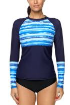 Vegatos Womens Long Sleeve Printed Rash Guard UV Swim Shirt Sufring Athletic Top