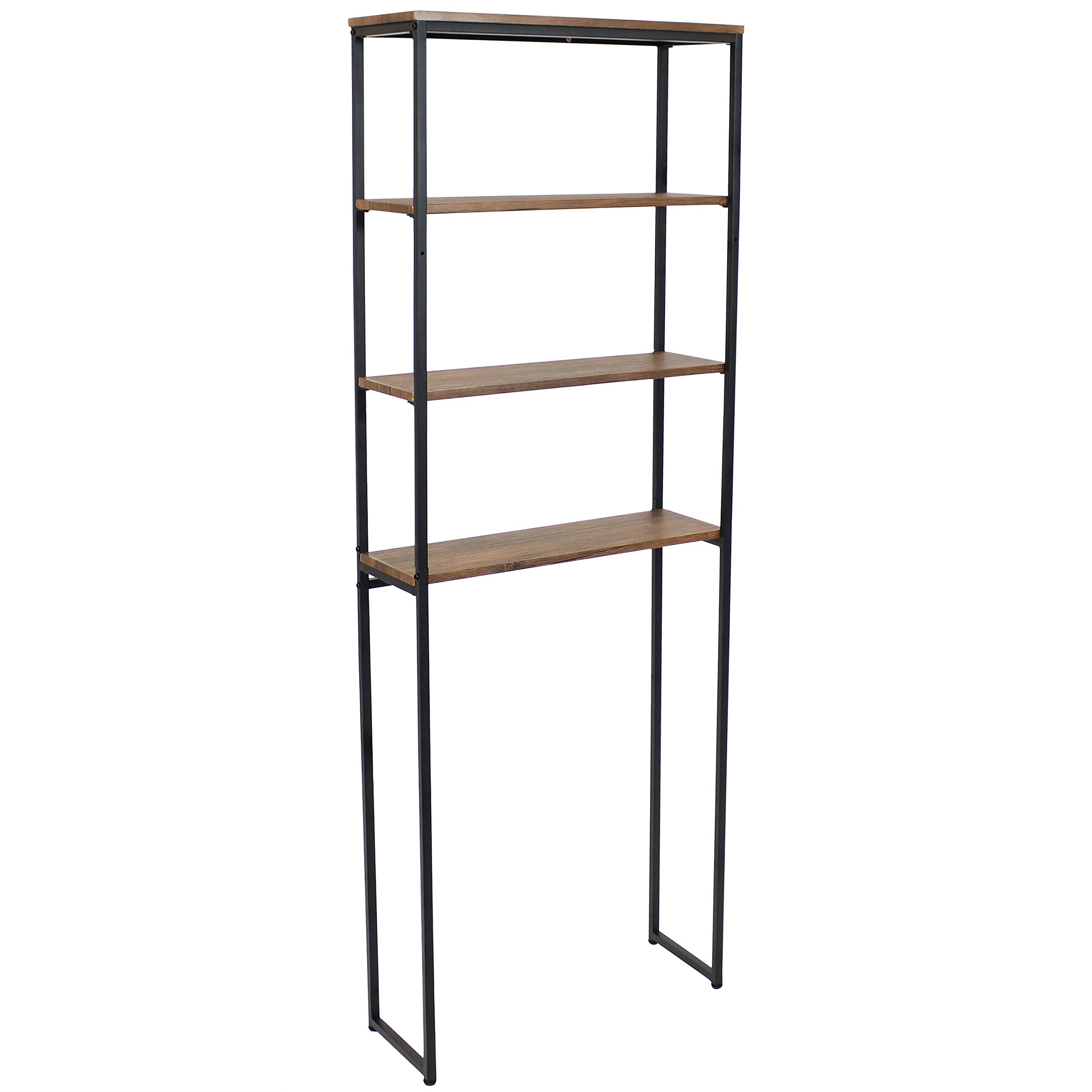 Sunnydaze 4-Tier Over the Toilet Storage Shelf - Industrial Style with Freestanding Open Shelves with Veneer Finish and Black Iron Frame - Etagere Bathroom Space-Saver Organizer - Teak Color - 69-Inch