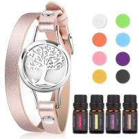 Faurora Floral Essential Oil Bracelet Gift Set, Tree of Life Aromatherapy Diffuser Chain with 4 x 10 ML Aroma Essential Oils (Gardenia, Jasmine, Rose Garden, Lilac), Nice Gifts for Women (Rose Gold)