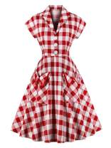 retro stage Women's 1950s Pockets Plaid Dress Vintage Dress Prom Swing Cocktail Party Dress Red