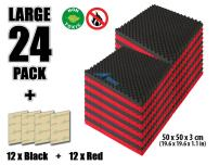 Arrowzoom New 24 Pack of Red & Black (19.6 in X 19.6 in X 1.1 in) Convoluted Foam Soundproofing Insulation Egg Crate Acoustic Wall Padding Studio Foam Tiles (RED&Black)