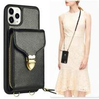 iPhone 11 Pro Wallet Case, JLFCH iPhone 11 Pro Crossbody Case with Zipper Card Slot Holder Wrist Strap Shoulder Chain Protective Cover for iPhone 11 Pro 5.8 inch - Black
