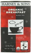 Harney and Sons Organic Tea Bags, Breakfast, 20 Count