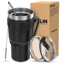 Atlin Tumbler [30 oz. Double Wall Stainless Steel Vacuum Insulation] - Black Travel Mug [Crystal Clear Lid] Water Coffee Cup [Straw + Handle Included]For Home, Office, School, Ice Drink, Hot Beverage