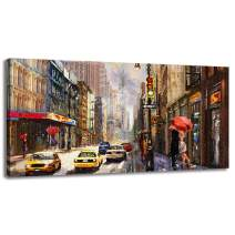BYXART Modern New York City Canvas Print USA Street Painting Empire State Building Wall Art Modern Giclee Framed Artwork Ready to Hang for Home Decoration (20x40inx1)