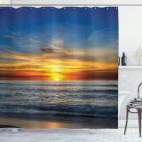 """Ambesonne Ocean Shower Curtain, Sunset Over Pacific Ocean from La Jolla California Sun Rays Colored Sky Photo Print, Cloth Fabric Bathroom Decor Set with Hooks, 70"""" Long, Yellow Blue"""