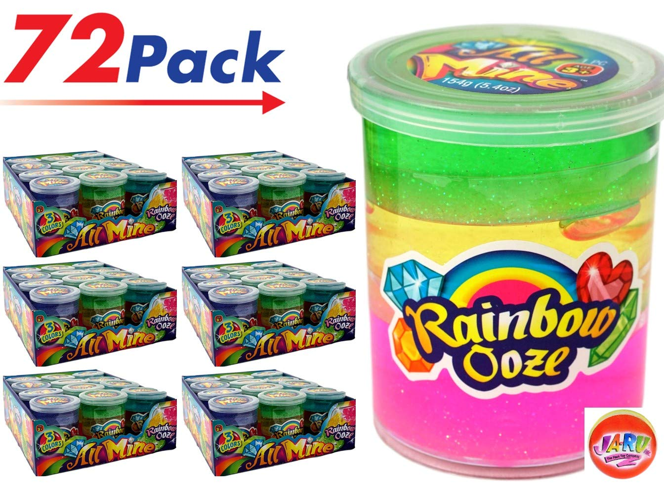 JA-RU Rainbow Putty Slime Kit Neon Glitter Colors (72 Units) Unicorn Party Girls Game. Slime Squishy and Stretchy. Arts and Crafts for Girls Party Favor Toy Supplies | Item #4634-72p