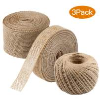 3 PCS Burlap Ribbon Set,11 Yards Natural Fabric Craft Ribbon with 165 Feet Jute Twine for Wedding Event Party and Home Decoration and Embellishment DIY Crafts