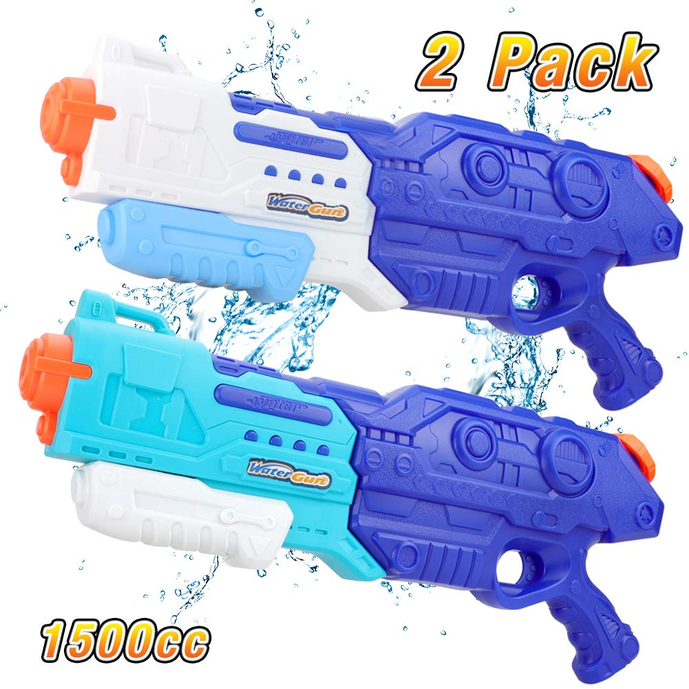 Squirt Water Gun for Kids Adults, 1500CC High Capacity, Fast Trigger Water Soaker Blaster Pistol for Boys Girls Swimming Pools Beach Party Water Shooter Fighting Play Games Toys, 2 Pack