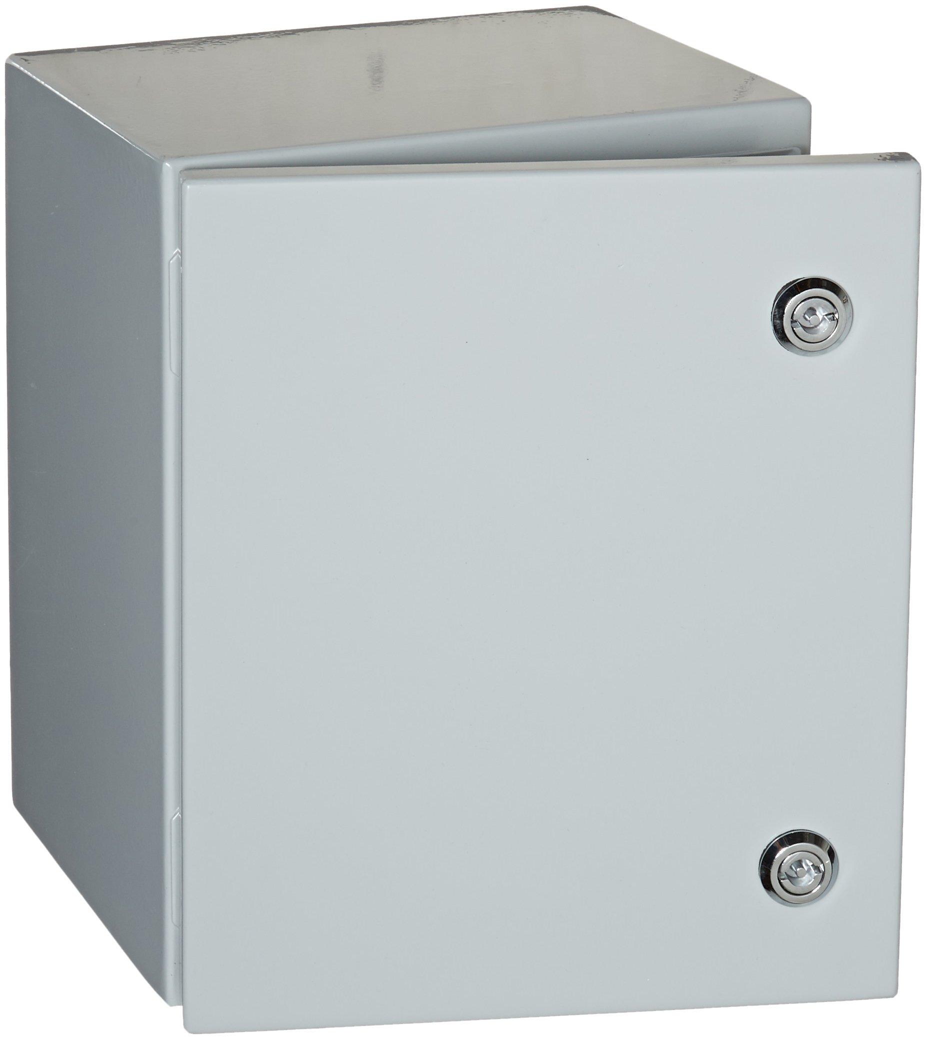 "BUD Industries Series SNB Steel NEMA 4 Sheet Metal Box with Mounting Bracket, 9-53/64"" Width x 11-51/64"" Height x 7-55/64"" Depth, Smooth Gray Finish"