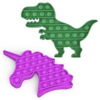 Tepoobea Push pop pop Bubble Sensory Fidget Toy, 2 Pack Autism Special Needs Stress Reliever Silicone Stress Reliever Toy, Squeeze Sensory Toy for Kids and Adult (Purple Unicorn+Green Dinosaur)