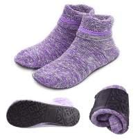 Women Non-slip Fuzzy Slipper Socks with Waterproof Soles Rubber Bottom Grippers