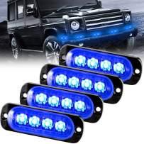 Sidaqi Blue 4-LED Surface Flush Mount Grille Emergency Strobe Lights Ultra Slim Deck Dash Grill Warning Police Light Hazard Beacon Caution Flashing Light for Vehicles Van Waterproof 12-24V-4PCS