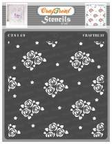 CrafTreat Rose Stencils for Painting on Wood, Canvas, Paper, Fabric, Floor, Wall and Tile - Mini Rose Background - 6x6 Inches - Reusable DIY Art and Craft Stencils for Painting Flowers