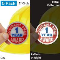 """SmartSign""""1 Year Accident Free Award"""" Pack of 5 Hard Hat Labels 