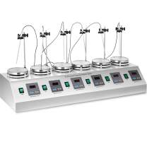 Happybuy 6 Heads Magnetic Stirrer Multi Unit Digital Thermostatic Lab Magnetic Mixer and Hotplate 0-1600 RPM Adjustable Magnetic Stirrer Mixer with Stirring Bar(110V)
