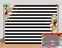 Qian Vinyl 7x5ft Photography Backdrops Black and White Stripe Background Pink Rose Flower Birthday Party Wedding Photo Studio Booth