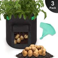 GROWNEER 3-Pack 7 Gallons Grow Bags Potato Planter Bag with Access Flap and Handles, Planting Grow Bags Fabric Pots for Grow Vegetables, Potato, Carrot, Onion, with 15Pcs Plant Labels