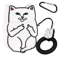 Mulafnxal Compatible with Airpods 1&2 Case,Silicone 3D Cute Fun Animal Cartoon Funny Character Airpod Cover,Kawaii Fashion Stylish Chic Design Skin, Cases for Teens Girls Boys Air pods(White Cool Cat)
