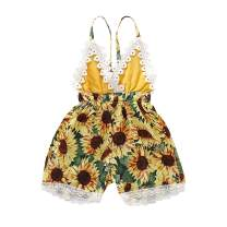 HZYKOK Toddler Baby Girl Clothes Sunflower Romper Summer Jumpsuit Strap Backless Bodysuit Sleeveless Infant Playsuit Outfits