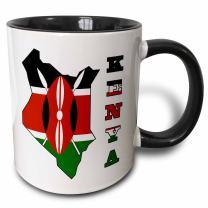 3dRose 151943_4 Flag in Outline Map of Country and Name Kenya Mug, 11 oz, Black