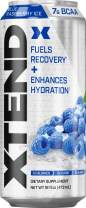 Scivation XTEND Carbonated Zero Sugar Hydration & Recovery Drink, Branched Chain Amino Acids, Electrolytes + Performance BCAAs, Blue Raspberry Ice, 16 Ounce Cans (Pack of 12)