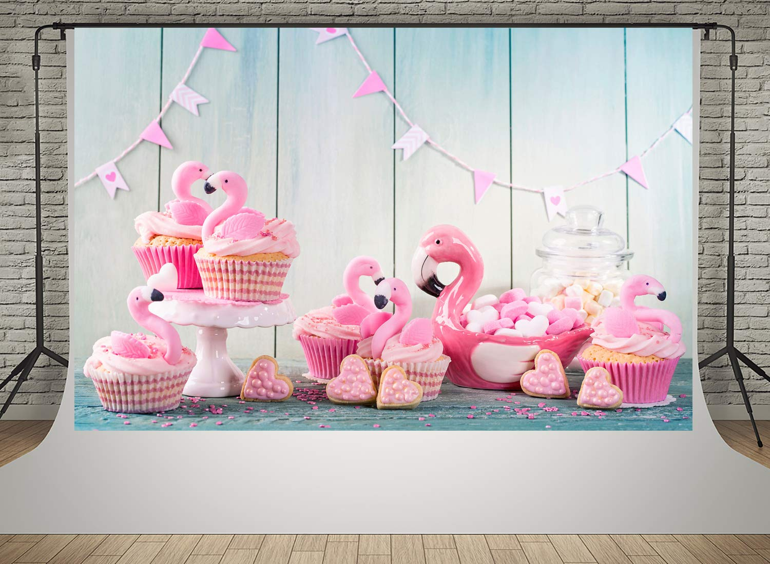 Kate 7x5ft Baby Shower Photography Backdrops Pink Flamingo Cup Cake Backgrounds Photo Birthday Party Decoration Backdrop Shooting