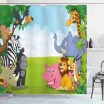 "Ambesonne Animal Shower Curtain, Kids Design Children Nursery Room Safari Themed Cartoon Animals Image Artwork Print, Cloth Fabric Bathroom Decor Set with Hooks, 84"" Long Extra, Blue Green"