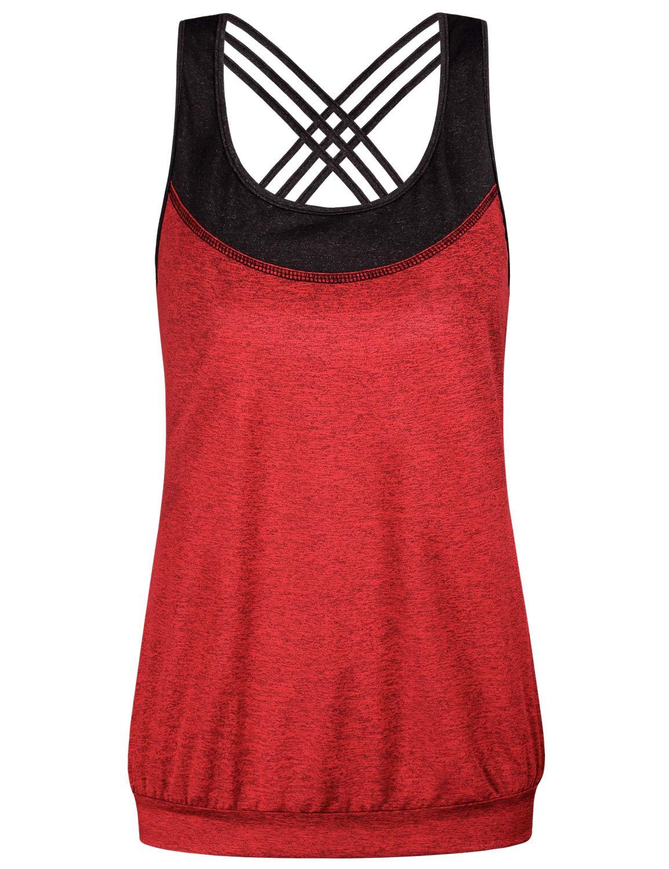 Miusey Womens Casual Sleeveless Cami Shirt Sexy Criss Cross Back Yoga Tank Tops