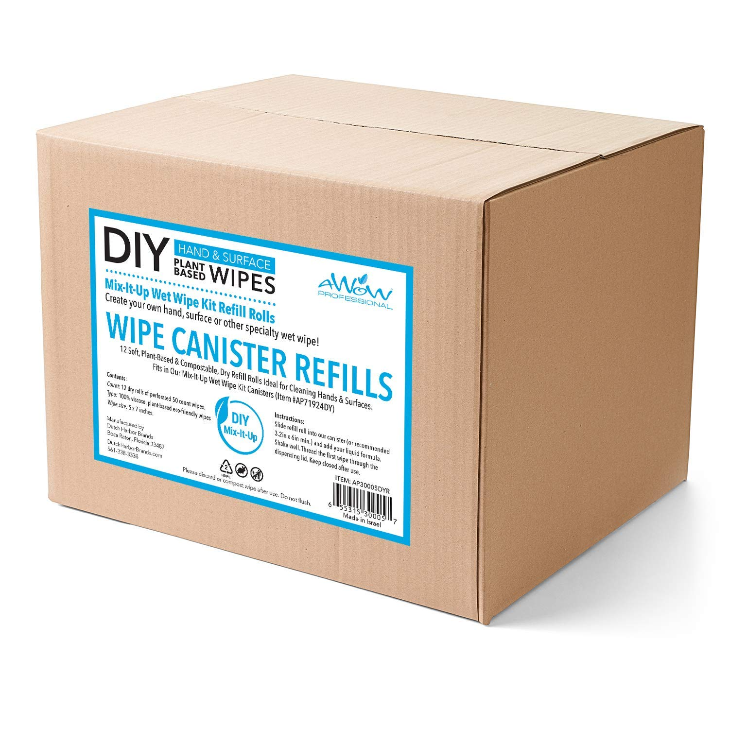 AWOW Professional DIY Hand & Surface, 12 50ct Refill Perforated Dry Wipe Rolls for Canisters, 600 Compostable Wipes
